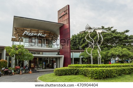 Jakarta, Indonesia - March 16, 2016: PIZZA HUT restaurant on Ancol beach in Jakarta. INDONESIA