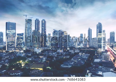 JAKARTA, Indonesia. November 27, 2017: aerial view of beautiful office building in Kuningan CBD Jakarta