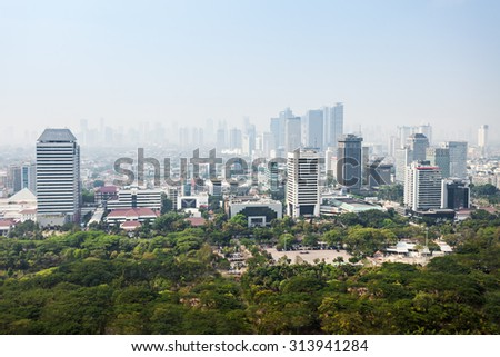 JAKARTA, INDONESIA - OCTOBER 21, 2014: Jakarta aerial view from Monas.