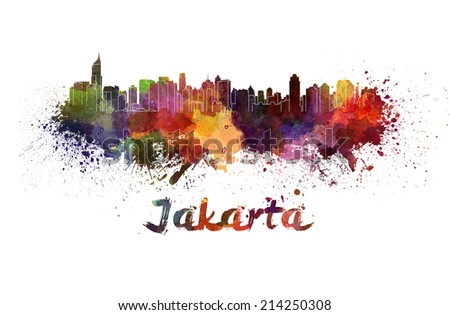 Jakarta skyline in watercolor splatters with clipping path - stock photo