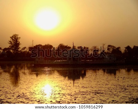 Jal Mandir - Landscape of a Temple in the lake at sunset