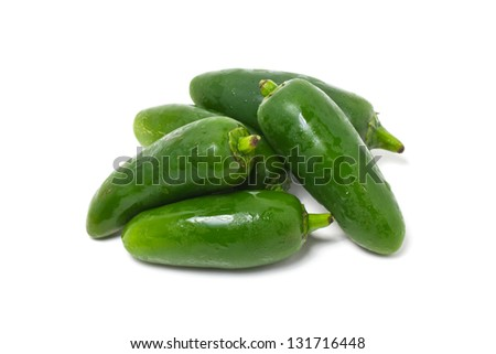 Jalapeno Pepper isolated on white. - stock photo
