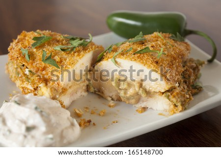 Jalapeno Popper Chicken, Stuffed and Breaded Chicken Breast - stock photo