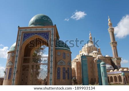 Jalil Khayat Mosque in Erbil, Iraq.  - stock photo