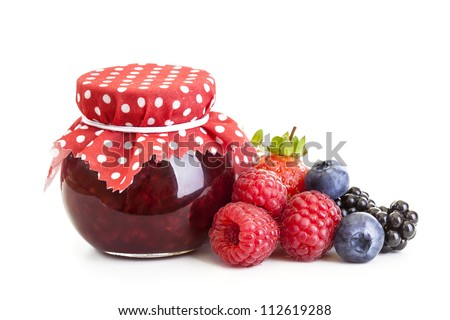 Jam and fresh berries isolated on white - stock photo