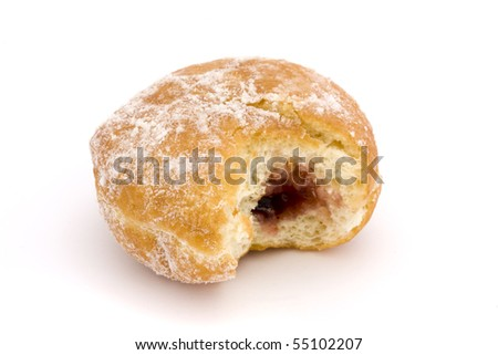 jam doughnut with a bite taken out over white - stock photo
