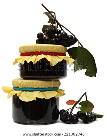 jam from chokeberry and fresh berries isolated on white background. - stock photo