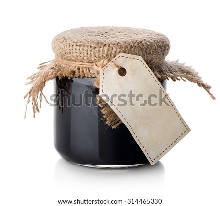 Jam in jar isolated on a white background - stock photo