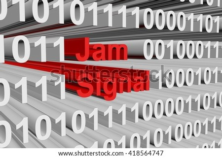 Jam signal as binary code, 3D illustration