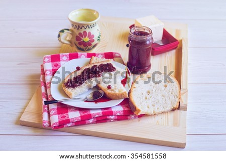 Jam with milk and butter for breakfast - stock photo