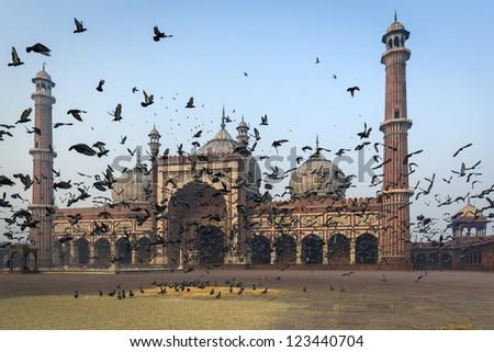 Jama Masjid mosque in Old Delhi, India - stock photo