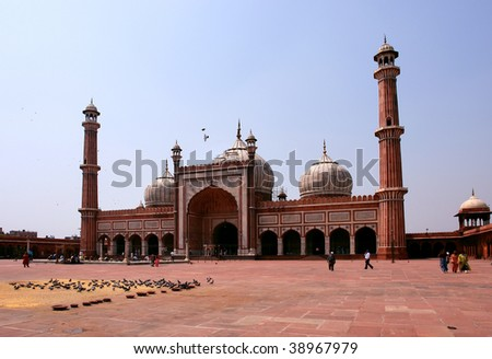 Jama Masjid Mosque, old Delhi, India. - stock photo