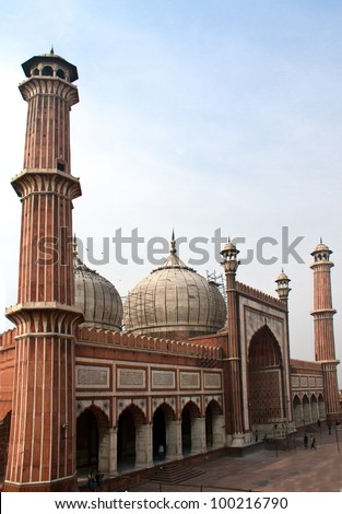 Jama Masjid mosque, the largest mosque in New Delhi, India - stock photo