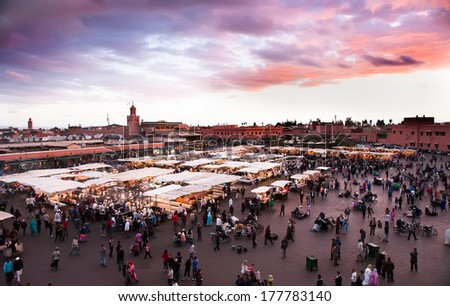 Jamaa el Fna (also Jemaa el-Fnaa, Djema el-Fna or Djemaa el-Fnaa) is a square and market place in Marrakesh's medina quarter (old city). Marrakesh, Morocco, north Africa. UNESCO Heritage of Humanity. - stock photo