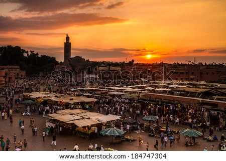 Jamaa el Fna (also Jemaa el-Fnaa, Djema el-Fna or Djemaa el-Fnaa) is a square and market place in Marrakesh's medina quarter (old city). Marrakesh, Morocco, north Africa.  - stock photo
