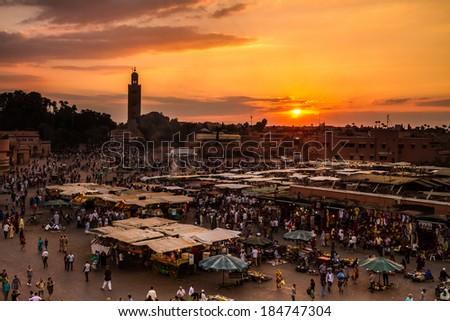 Jamaa el Fna (also Jemaa el-Fnaa, Djema el-Fna or Djemaa el-Fnaa) is a square and market place in Marrakesh's medina quarter (old city). Marrakesh, Morocco, north Africa.  - stock photo