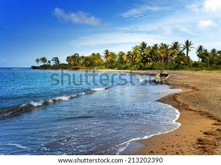 Jamaica. A national boat on sandy coast of a bay - stock photo