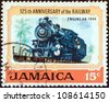 "JAMAICA - CIRCA 1970: A stamp printed in Jamaica from the ""125th anniversary of Jamaican Railways"" issue shows Steam locomotive No. 54 (1944), circa 1970. - stock photo"