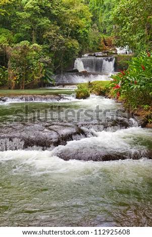 Jamaica. Dunn's River waterfalls - stock photo