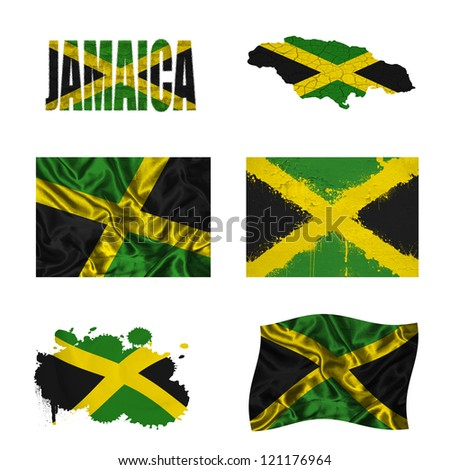 Jamaica flag and map in different styles in different textures - stock photo