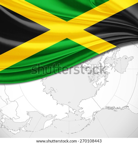 Jamaica  flag and world map background