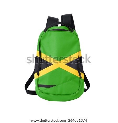 Jamaica flag backpack isolated on white background. Back to school concept. Education and study abroad. Travel and tourism in Jamaica - stock photo