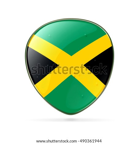 Jamaica Flag Icon, isolated on white background.