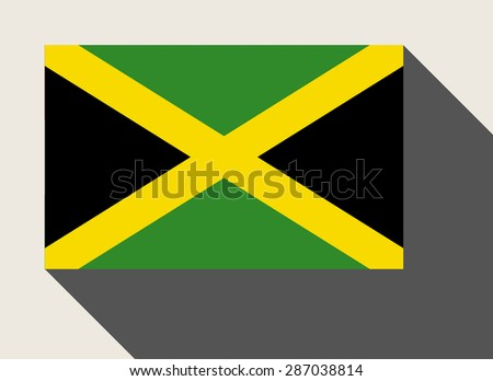 Jamaica flag in flat web design style. - stock photo