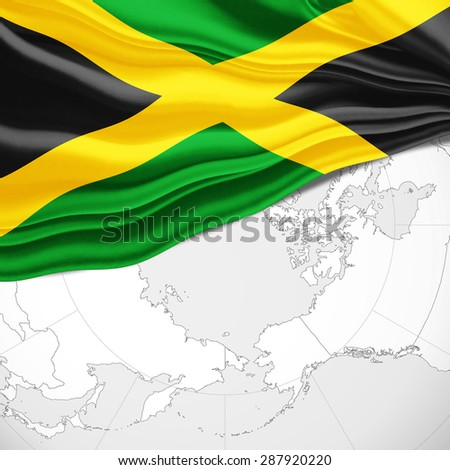 Jamaica  flag of silk and world map background