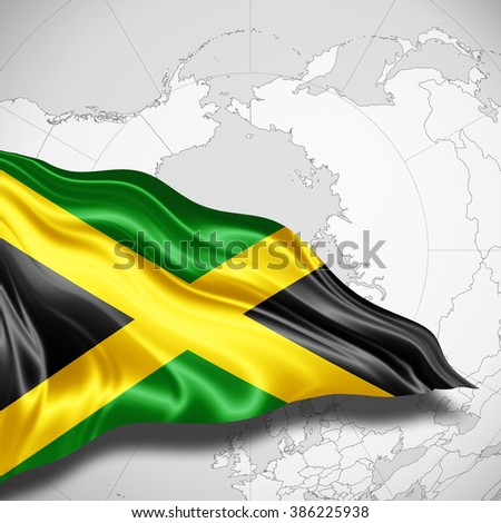 Jamaica flag of silk with copyspace for your text or images and world map background
