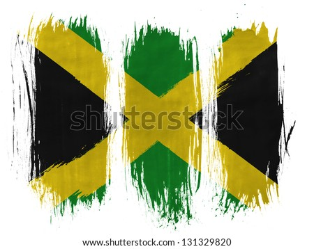 Jamaica flag  painted with 3 vertical  brush strokes on white background - stock photo
