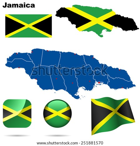 Jamaica set. Detailed country shape with region borders, flags and icons isolated on white background. - stock photo