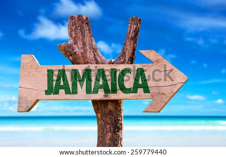 Jamaica sign with beach background  - stock photo