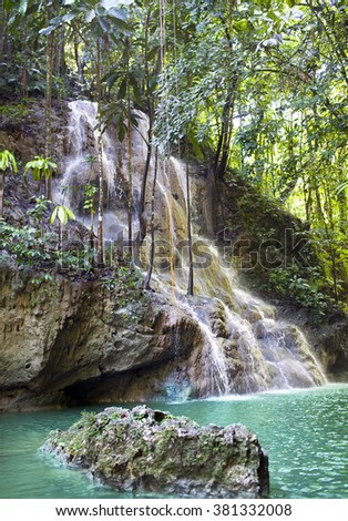 Jamaica. Small waterfalls in the jungle
