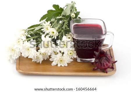 Jamaica Sorrel, Red Sorrel, Roselle and Rozelle juice (Hibiscus sabdariffa L.). - stock photo
