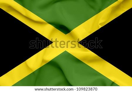 Jamaica waving flag - stock photo