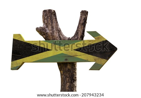 Jamaica wooden sign isolated on white background - stock photo
