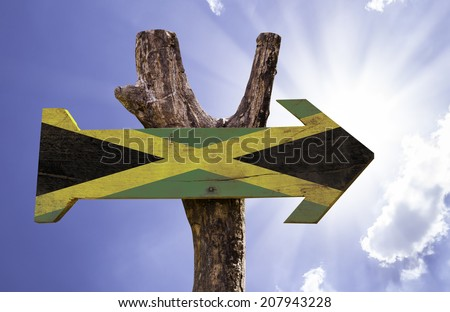 Jamaica wooden sign on a beautiful day - stock photo