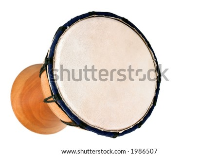 Jambe Drum - Horizontal Top - Balinese gamelan making mahogany wood drum - stock photo