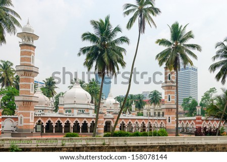 Jamek mosque is one of the oldest mosques in Kuala Lumpur, Malaysia - stock photo