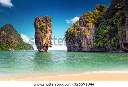 James Bond island near Phuket in Thailand. Famous landmark and famous travel destination  - stock photo