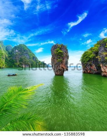 James Bond island Thailand travel destination. Phang Nga bay archipelago - stock photo