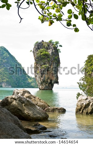 James Bond (Ko Tapu) island vertical view, Thailand
