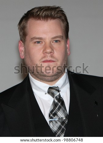James Corden arriving for the 2012 Brit Awards, O2 Arena, London. 21/02/2012 Picture by: Simon Burchell / Featureflash - stock photo
