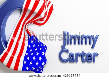 James Earl Carter, Jimmy  (American politician, 39th President of the United States) with US flag. 3d Rendering. WASHINGTON, DC - MAY 28, 2016