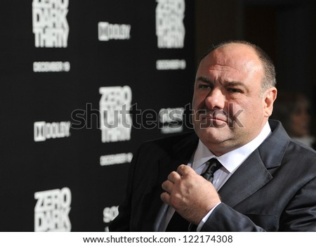"James Gandolfini at the premiere of his movie ""Zero Dark Thirty"" at the Dolby Theatre, Hollywood. December 10, 2012  Los Angeles, CA Picture: Paul Smith - stock photo"