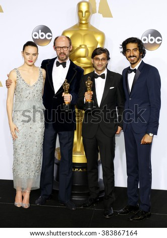 James Gay-Rees, Asif Kapadia, Dev Patel and Daisy Ridley at the 88th Annual Academy Awards - Press Room held at the Loews Hollywood Hotel in Hollywood, USA on February 28, 2016. - stock photo