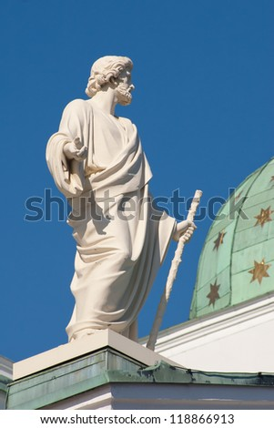 James the Apostle. One of the statues of the Twelve Apostles at the apexes and corners of the roof line of Helsinki Cathedral, Finland.