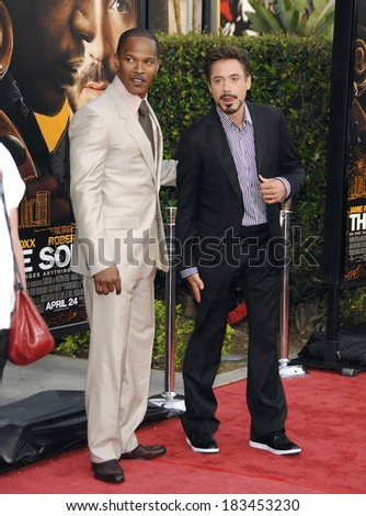 Jamie Foxx, Robert Downey Jr at THE SOLOIST Premiere, Paramount Theatre, Los Angeles, CA April 20, 2009  - stock photo
