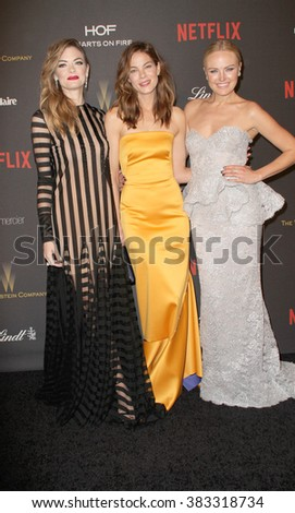 Jamie King, Michelle Monaghan & Malin Akerman arrive at the Weinstein Company and Netflix 2016 Golden Globes After Party on Sunday, January 10, 2016 at the Beverly Hilton Hotel in Beverly Hills, CA.  - stock photo